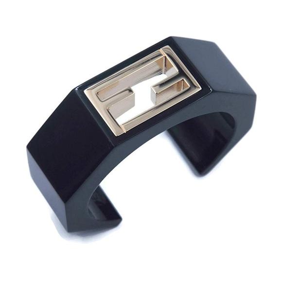 Fendi Jewelry - Fendi Black Enamel FF Logo Cuff Statement Bangle